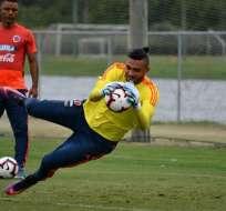 Álvaro Montero en un entrenamiento con la selección de Colombia.