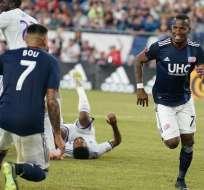 El delantero ecuatoriano hizo el descuento en el 3-1 ante Atlanta United. Foto: Tomada de @NERevolution