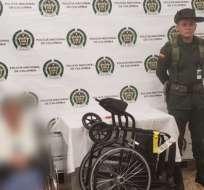 RIONEGRO, Colombia.- Tres kilos de cocaína fueron hallados dentro de los tubos de la silla de ruedas. Foto: Policía Antioquía