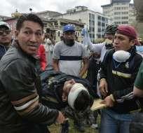 8 muertos y 1.340 heridos tras protestas, según la Defensoría del Pueblo. Foto: AFP