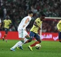 Partido de este martes entre Argelia y Colombia. Foto: Selección Colombiana.