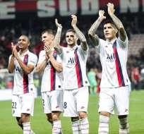 Jugadores del PSG celebran la victoria. Foto: Twitter PSG.