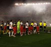 Jugadores de River y Boca previo al partido.