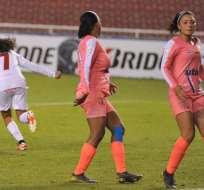 Jugadoras de América festejan uno de los goles. Foto: Libertadores Femenina.