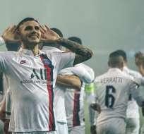 Icardi celebra su gol por Champions. Foto: Twitter PSG.