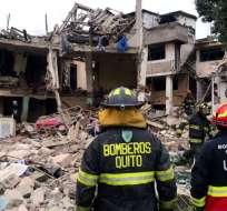 Un muerto y 7 heridos por acumulación de gas en Quito. Foto: Bomberos Quito