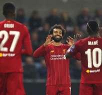 Salah festeja el último tanto de su equipo. Foto: Twitter Liverpool.