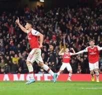 Gabriel Martinelli festeja su gol en Europa League. Foto: Twitter Arsenal.