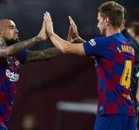 Arturo Vidal e Ivan Rakitic, jugadores del FC Barcelona.