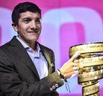 El ciclista colombiano destacó al ecuatoriano que será su compañero en 2020. Foto: MARCO BERTORELLO / AFP