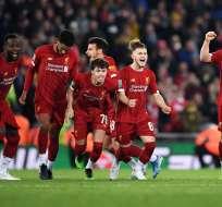 Liverpool festeja luego de los penales. Foto: Twitter Liverpool.