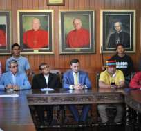 Indígenas entregaron su propuesta a la ONU Ecuador y a la Conferencia Episcopal. Foto: API