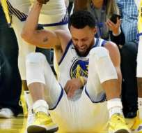 Stephen Curry en el momento de su fractura.