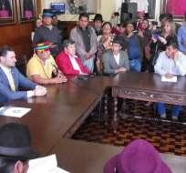 Dirigencia indígena se reunió con representantes de ONU Ecuador y Conferencia Episcopal. Foto: API