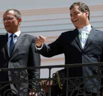 El exvicepresidente Jorge Glas y el exmandatario Rafael Correa en Carondelet. Foto: Flickr Agencia Andes