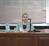 La jueza Daniella Camacho, durante la audiencia preparatoria de juicio en el caso Sobornos. Foto: API