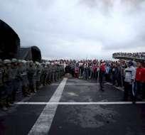 Imagen de archivo que muestra uno de los momentos de las protestas de octubre. Foto: EFE