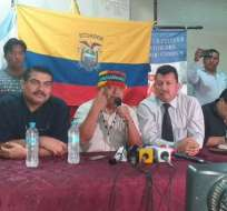Presidente de Conaie, Jaime Vargas (c), durante foro en Guayaquil. Foto: TW Jaime Vargas