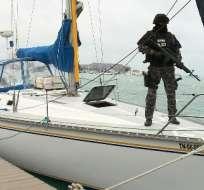 SALINAS, Ecuador.- 400 kilos de cocaína fueron decomisados de un velero el año pasado. Foto: captura de pantalla