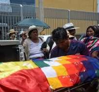 Velorio de un manifestante a favor de Evo Morales, fallecido durante una protesta en Sacaba. Foto: AFP