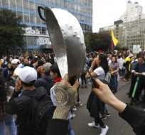 Manifestantes antigubernamentales protestan en Bogotá, Colombia, el 25 de noviembre de 2019. Foto: AP