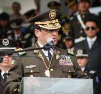 El comandante general de la Policía, Nelson Villegas, ascendió al grado de general superior. Foto:Policía