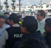 AMBATO, Ecuador.- La detención se realizó a su salida de la cárcel de Ambato. Foto: Policía Nacional