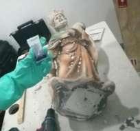 CIUDAD DE MÉXICO, México.- Las estatuas fueron localizadas con la ayuda de un perro entrenado. Foto: Fiscalía de México