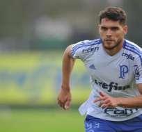 Nicolás Freire, en una práctica del Palmeiras