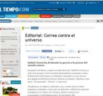 Editorial de diario colombiano El Tiempo critica nuevamente a Correa