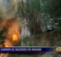 Camión del Ministerio de Salud se incendió en Manabí