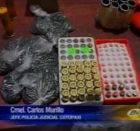 Pequeño arsenal fue encontrado en una bodega clandestina en Cotopaxi