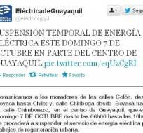 El domingo no habrá luz en una parte del centro de Guayaquil