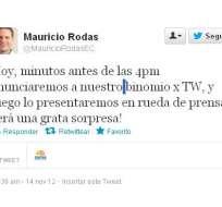 Mauricio Rodas anunciará en Twitter quién es su compañero de fórmula