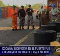 Descubren casi media tonelada de cocaína camuflada en cauchos en puerto de Guayaquil