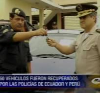Policía de Ecuador y Perú recuperan más de 70 vehículos robados