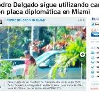 Delgado sigue usando auto con placas diplomáticas en Miami