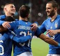 Italia celebra su goleada ante Liechtenstein.