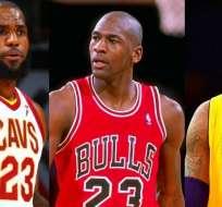 Lebron James, Michael Jordan y Kobe Bryant, figuras históricas de la NBA.