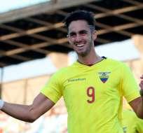 Leonardo Campana celebrando un gol durante el Sudamericano Sub 20.