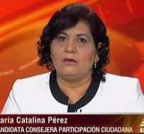 Catalina Pérez, candidata al CPCCS