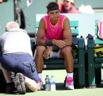 Rafael Nadal con molestias en su rodilla derecha.
