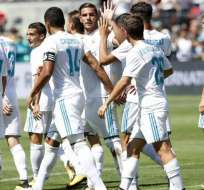 Jugadores del Real Madrid, celebrando un gol.