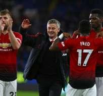 Jugadores y técnico del Manchester United.