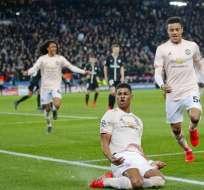 El United celebra su triunfo en Champions.