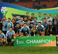La 'celeste' venció 4-0 al conjunto asiático en Nanning, China. Foto: STR / AFP