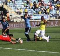 Partido jugado entre Uruguay y Colombia.