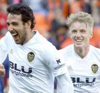 Jugadores del Valencia, celebrando un gol.