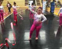 QUITO, Ecuador.- Las gimnastas mientras realizaban sus ensayos previo a su presentación. Foto: Ecuavisa