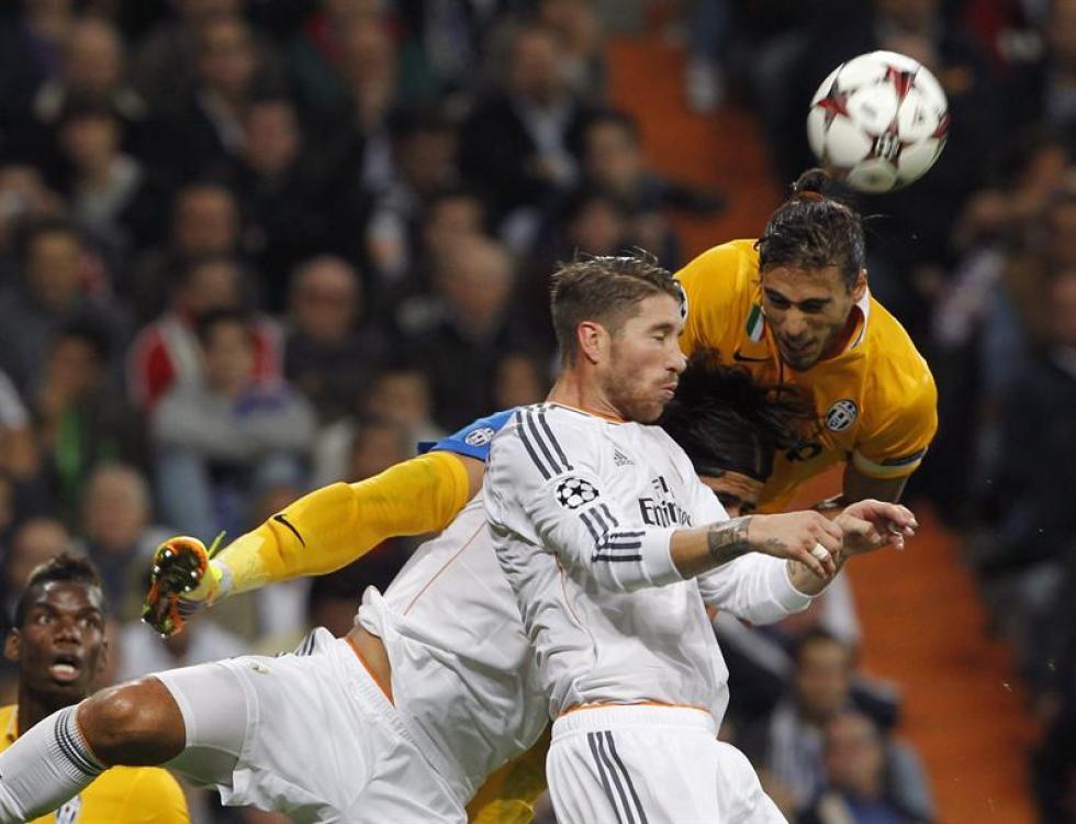 Jugada en el partido entre Real Madrid y Juventus. Foto: EFE